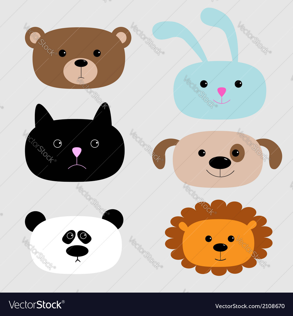 Animal head set cartoon bear rabbit cat dog panda vector | Price: 1 Credit (USD $1)