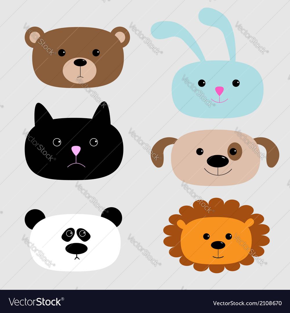 Animal head set cartoon bear rabbit cat dog panda vector | Price: 1 Credit (USD $1)