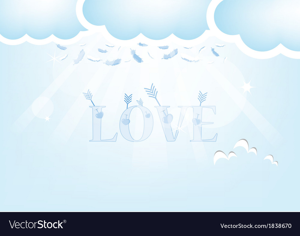 Arrow and love feathers from the sky blue valentin vector | Price: 1 Credit (USD $1)