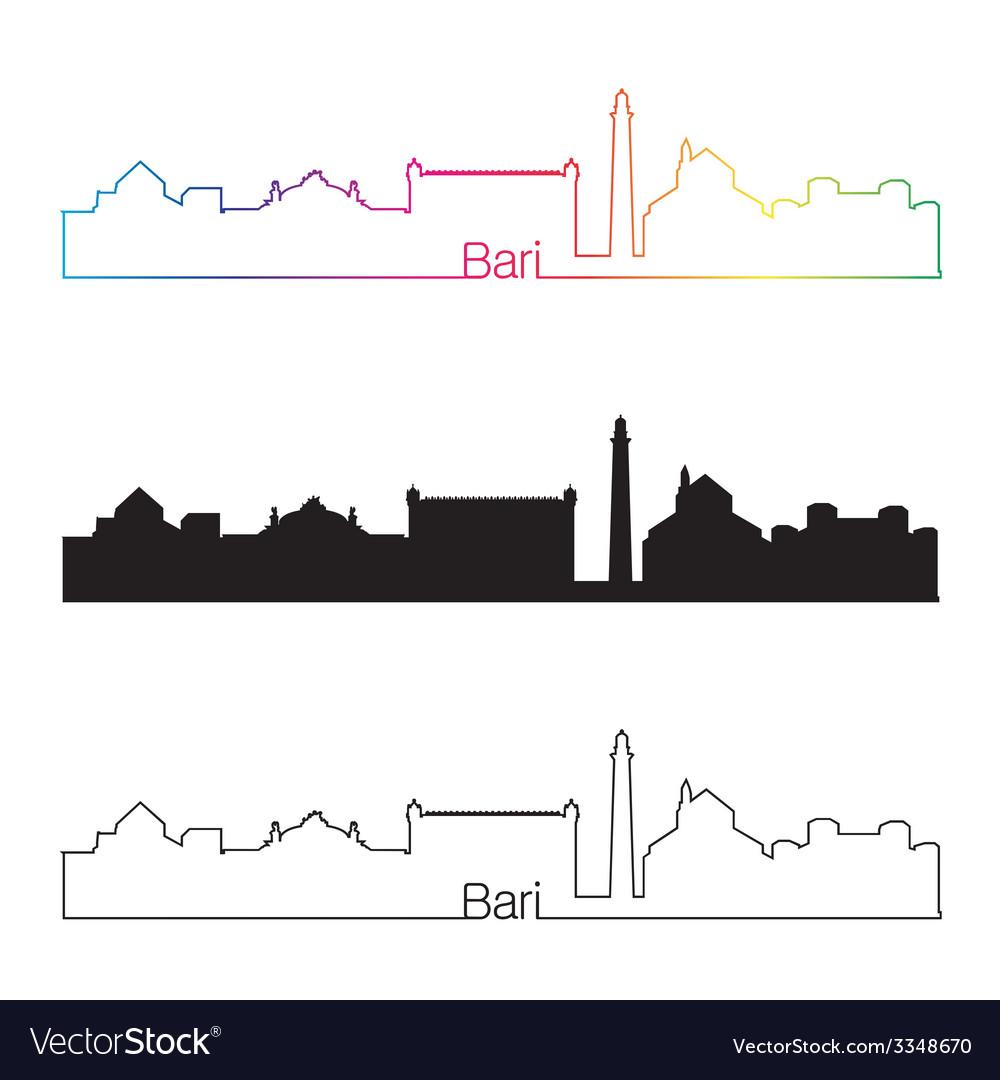Bari skyline linear style with rainbow vector | Price: 1 Credit (USD $1)