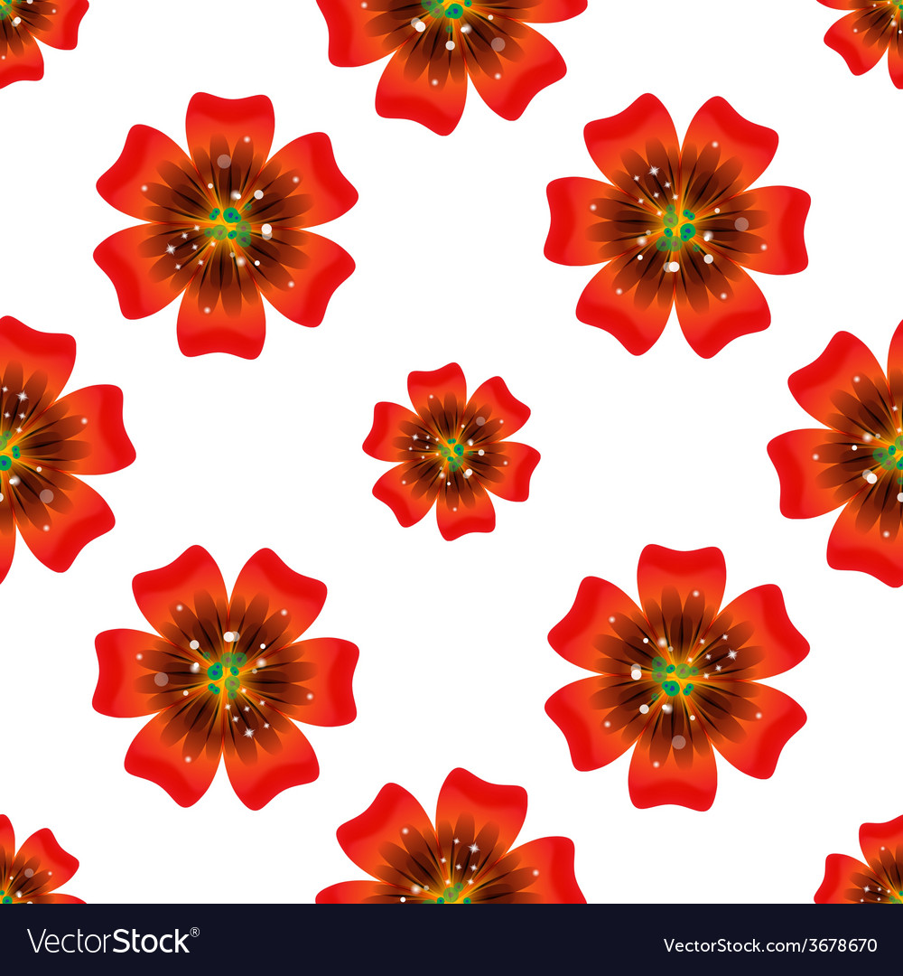 Beautiful orange flower seamless floral pattern vector | Price: 1 Credit (USD $1)