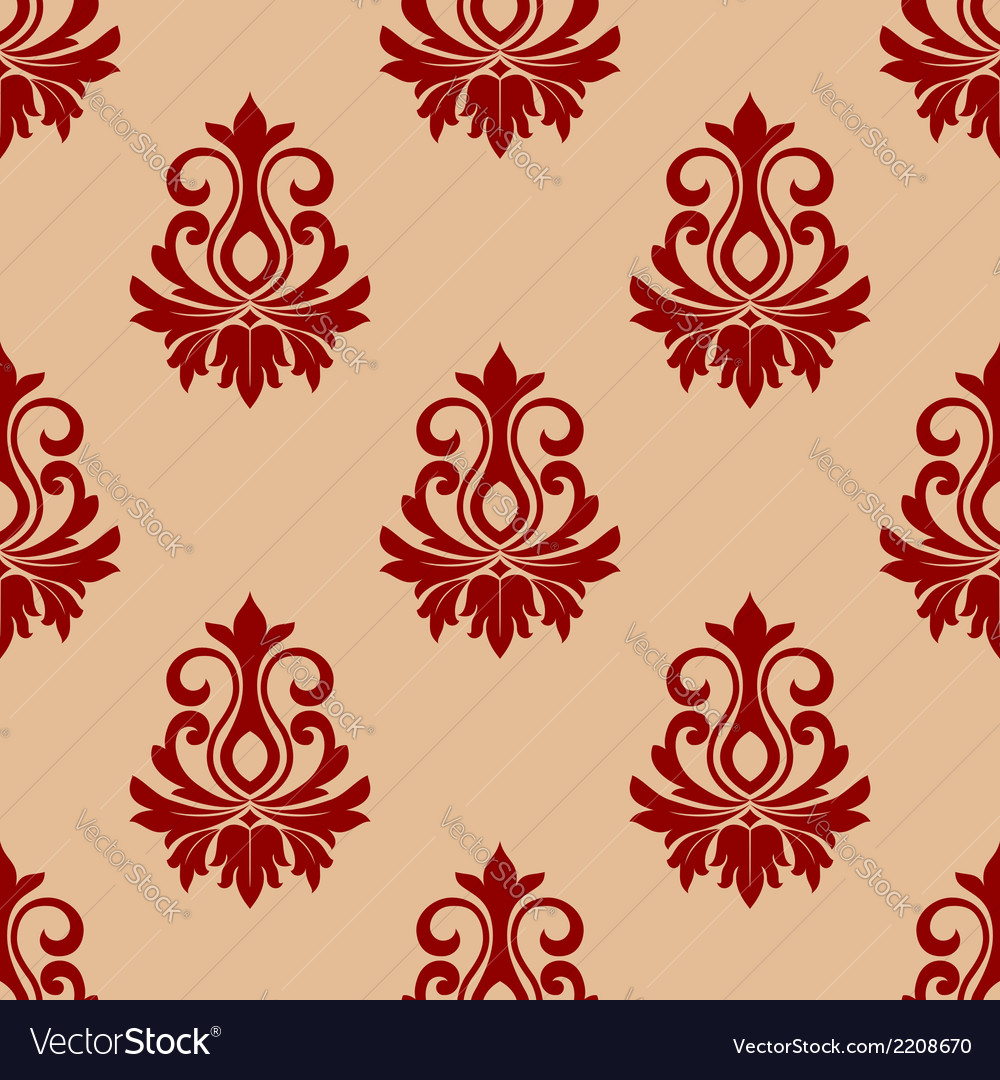Beige and maroon floral seamless pattern vector | Price: 1 Credit (USD $1)