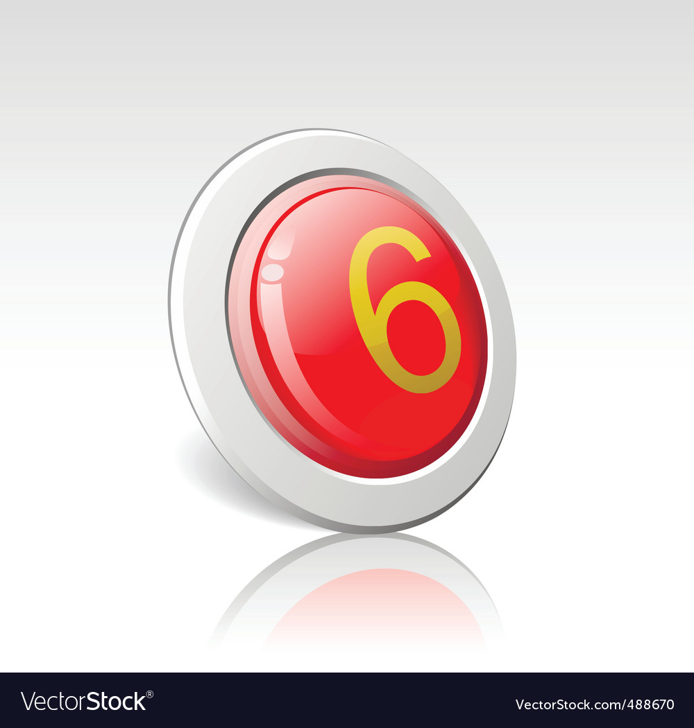 Button with the number 6 vector | Price: 1 Credit (USD $1)