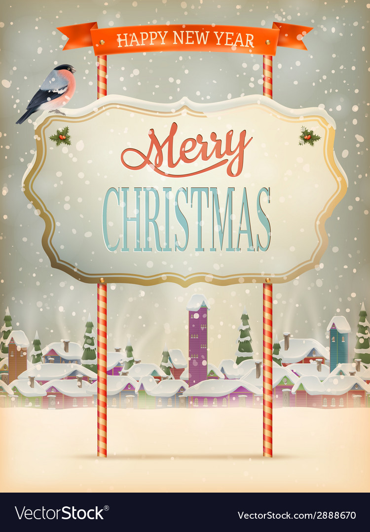 Christmas vintage street with signboard eps 10 vector | Price: 1 Credit (USD $1)