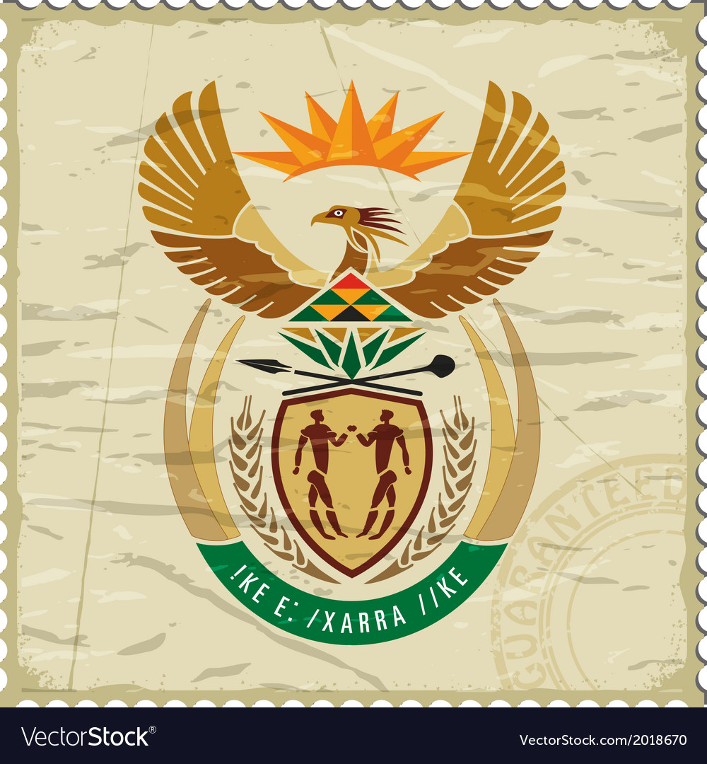 Coat of arms of south africa on postage stamp vector | Price: 1 Credit (USD $1)
