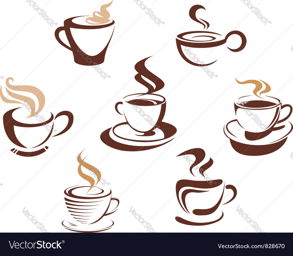 Coffee tes cups vector | Price: 1 Credit (USD $1)