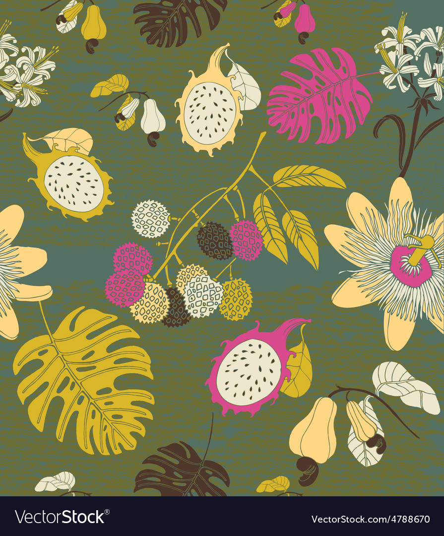 Hand draw tropical flowers and fruits vector | Price: 1 Credit (USD $1)