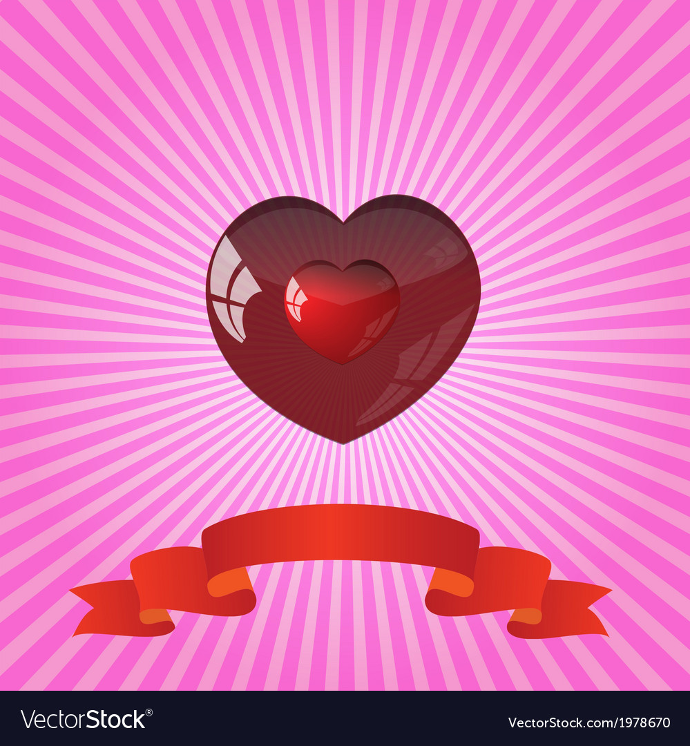 Heart on striped pink background vector | Price: 1 Credit (USD $1)