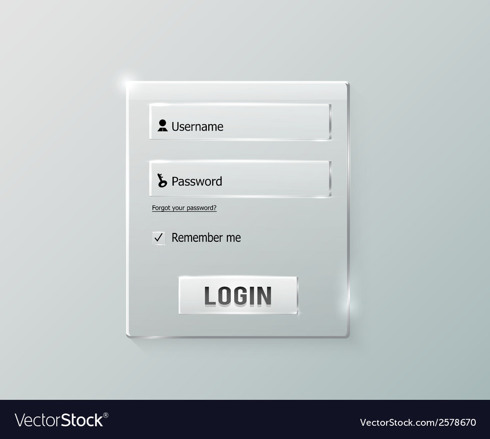 Login and register web glossy form vector | Price: 1 Credit (USD $1)