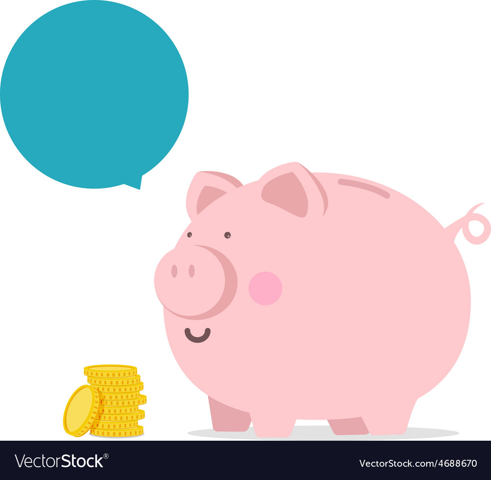 Piggy bank flat icon with blank bubble text vector | Price: 1 Credit (USD $1)