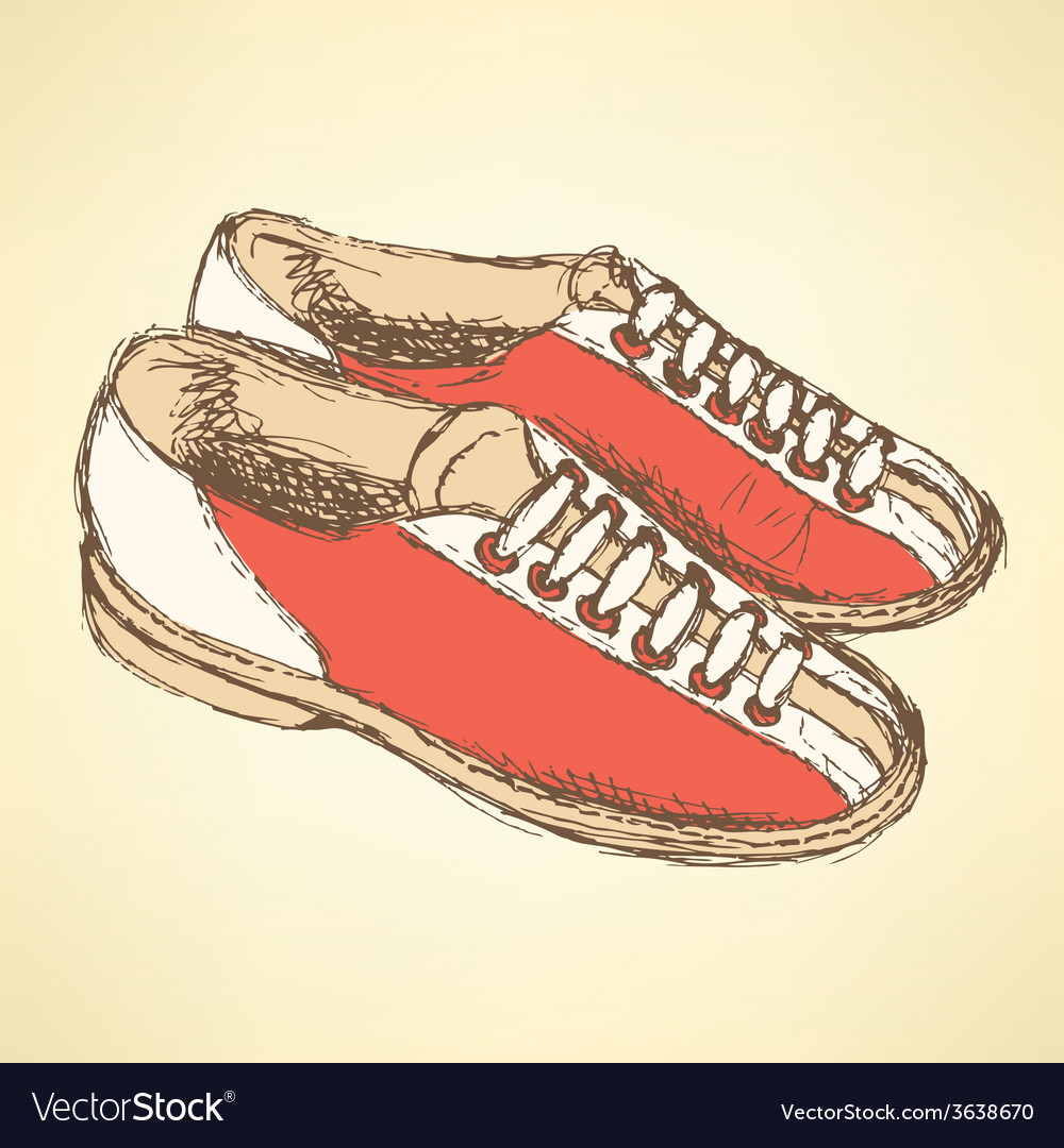 Sketch bowling shoes in vintage style vector | Price: 1 Credit (USD $1)