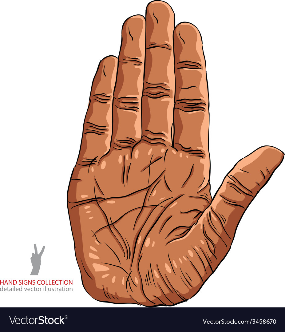 Stop hand sign african ethnicity detailed vector | Price: 1 Credit (USD $1)