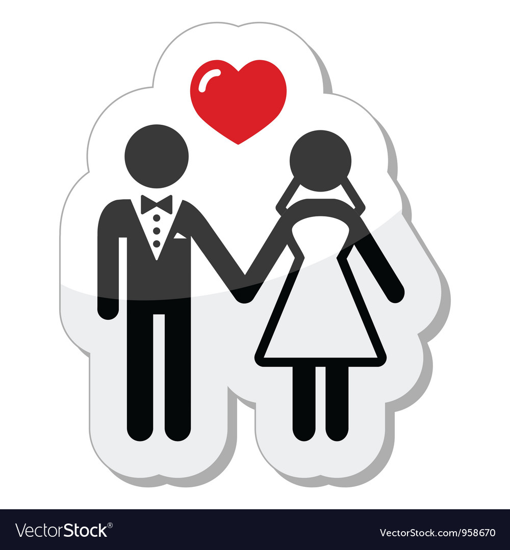 Wedding couple icon as glossy label vector | Price: 1 Credit (USD $1)