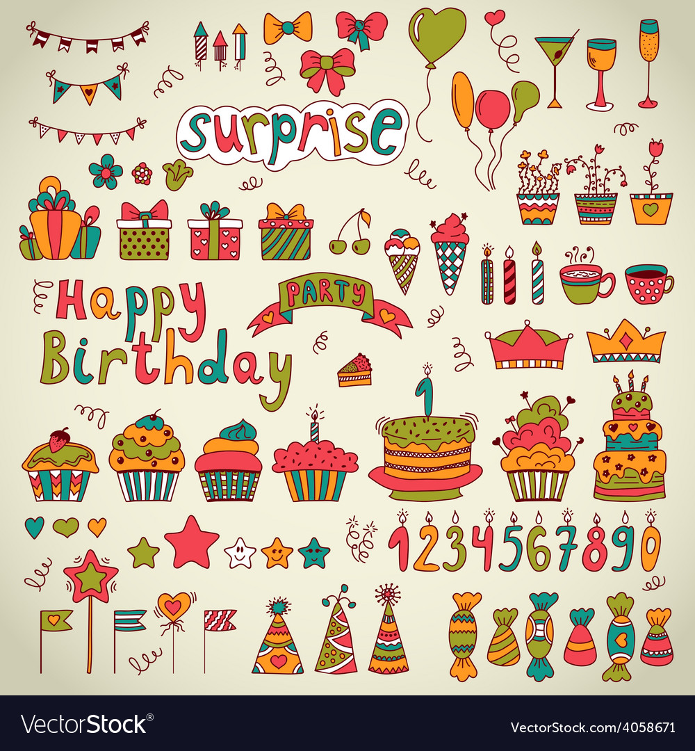 Birthday party design cute hand drawn elements vector | Price: 1 Credit (USD $1)