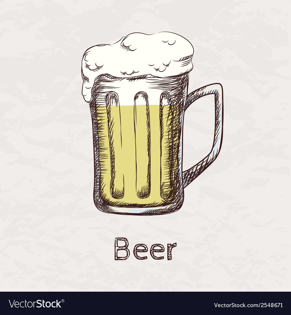 Colorful of hand drawn sketch of beer mug vector | Price: 1 Credit (USD $1)