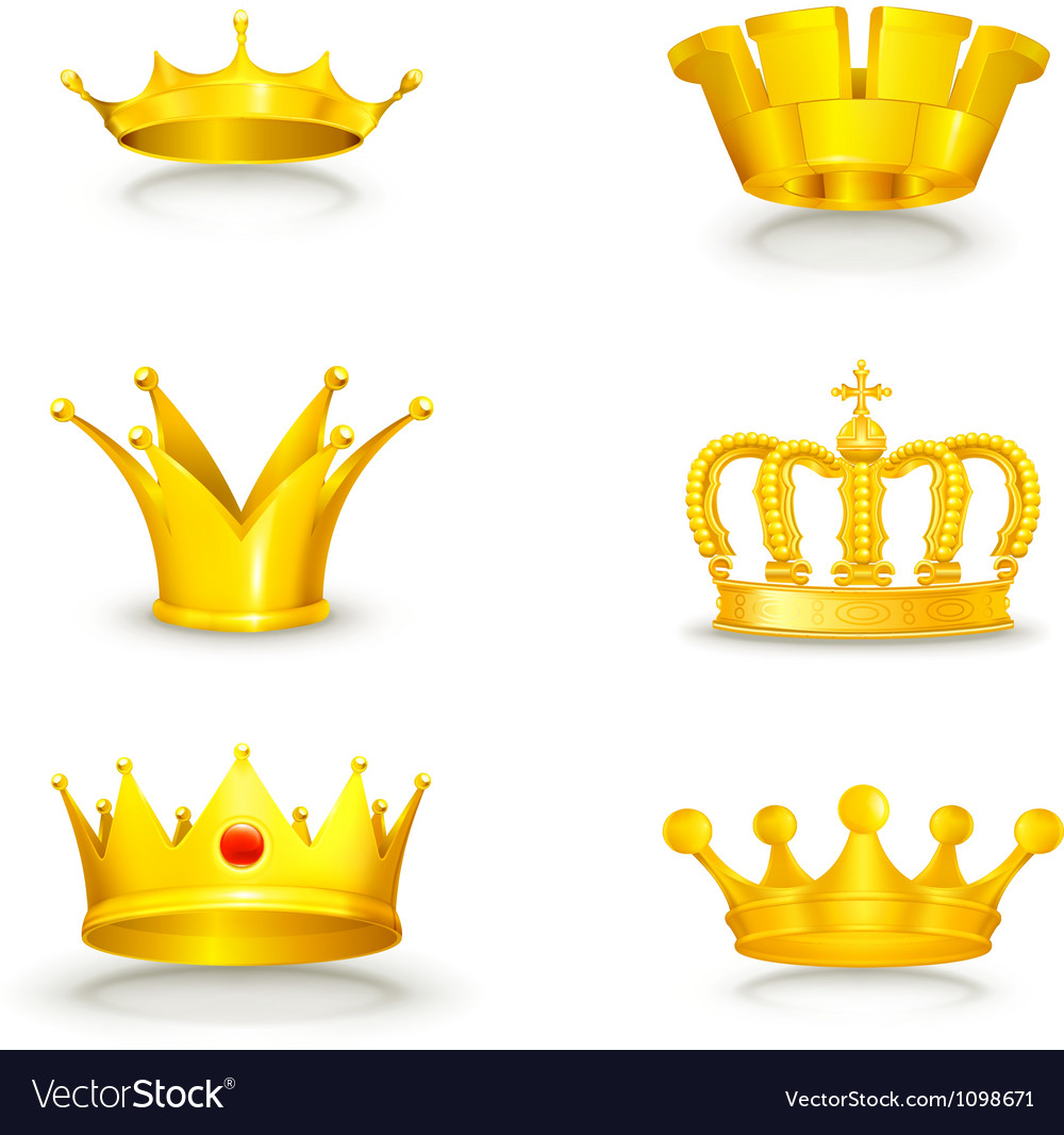 Crown set on white vector | Price: 1 Credit (USD $1)