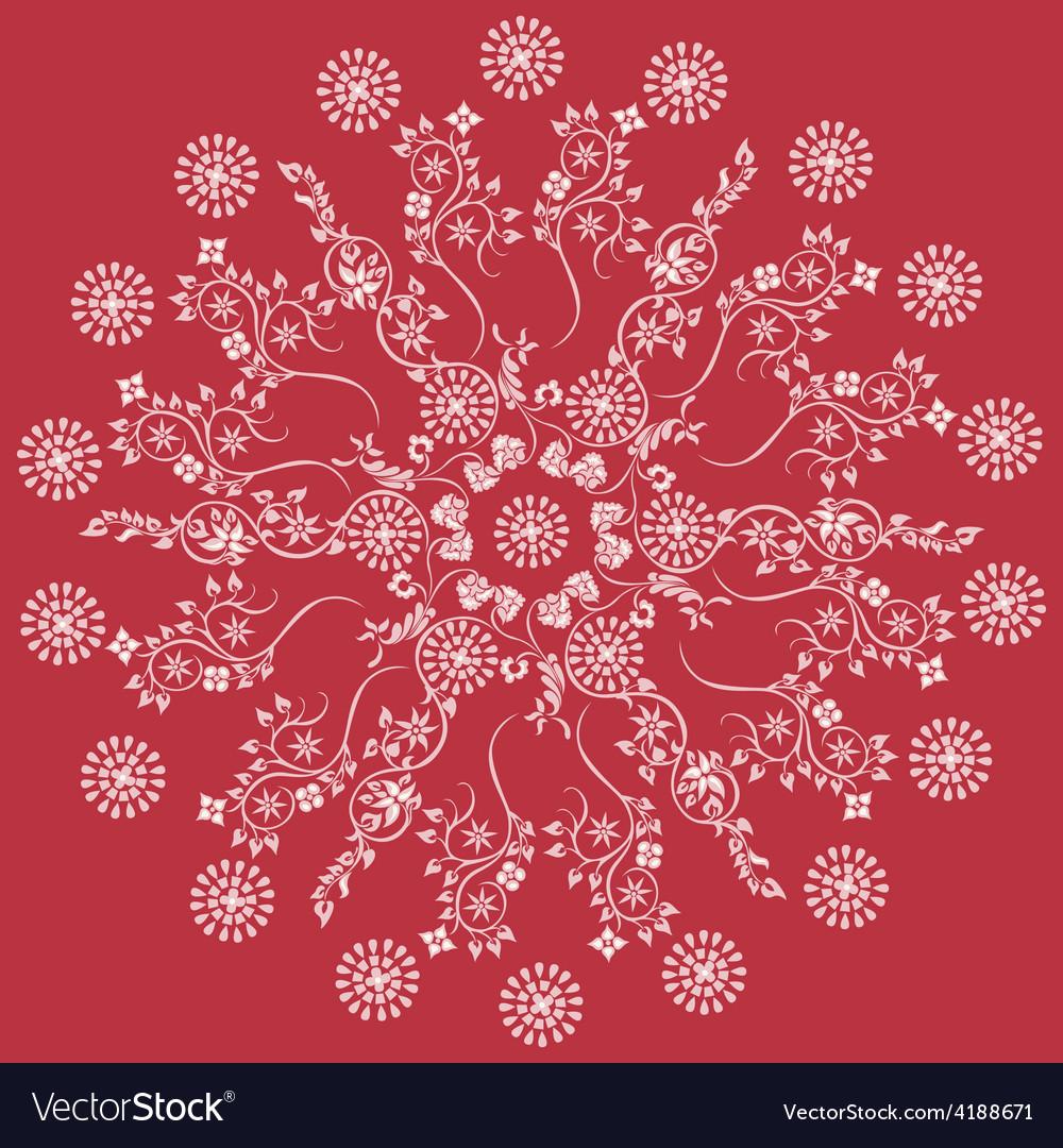Mandala red floral vector   Price: 1 Credit (USD $1)