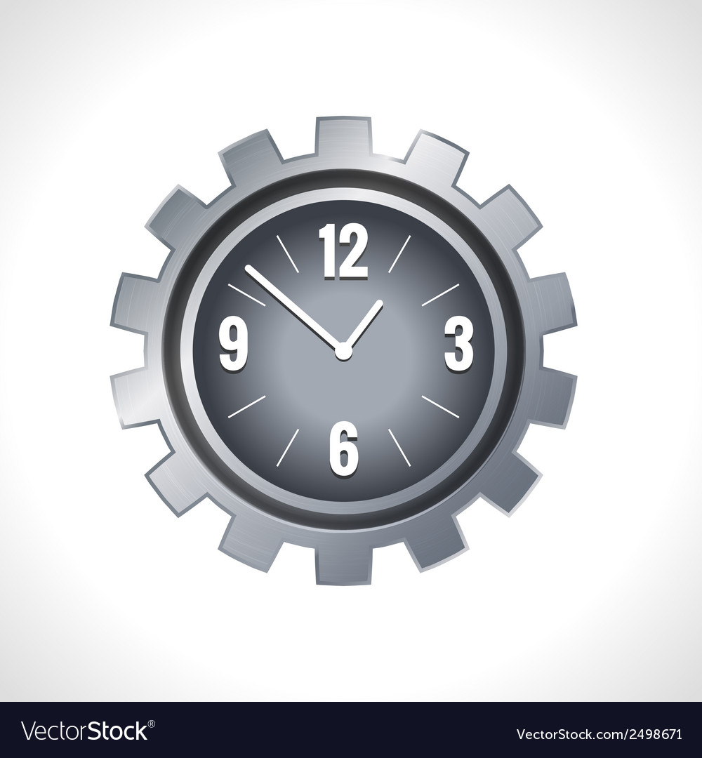 Metal gear clock vector | Price: 1 Credit (USD $1)