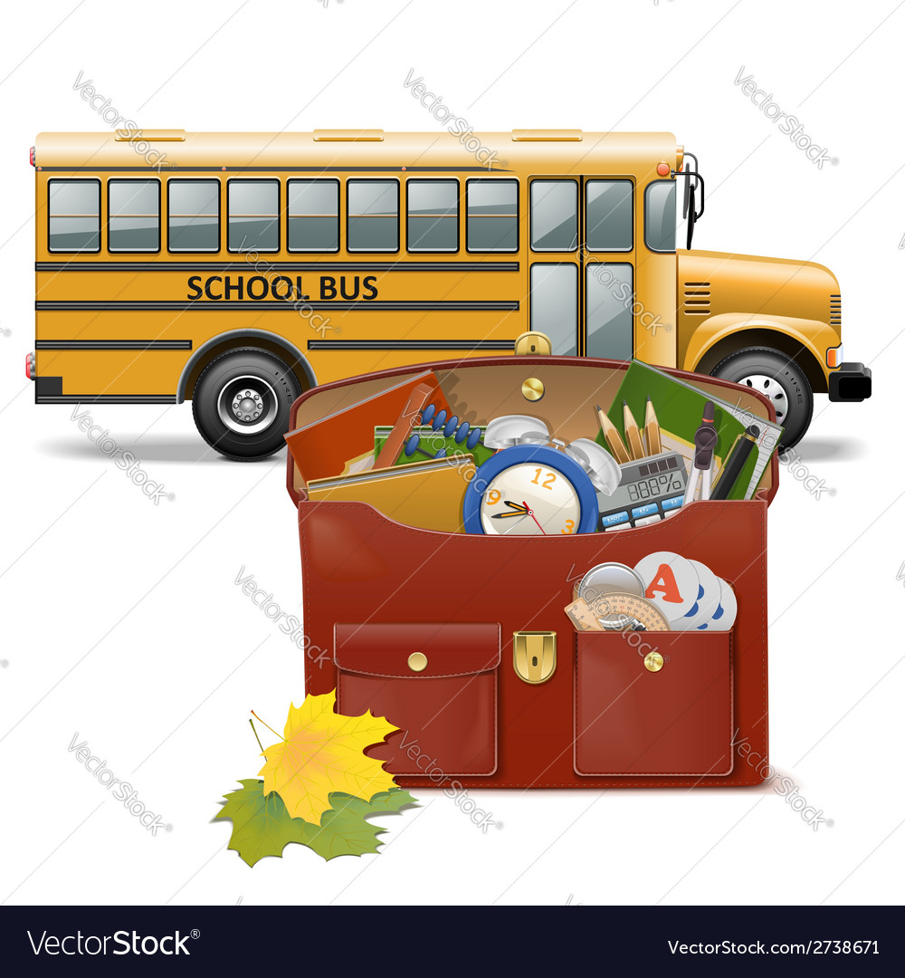 Schoolbag and bus vector | Price: 1 Credit (USD $1)