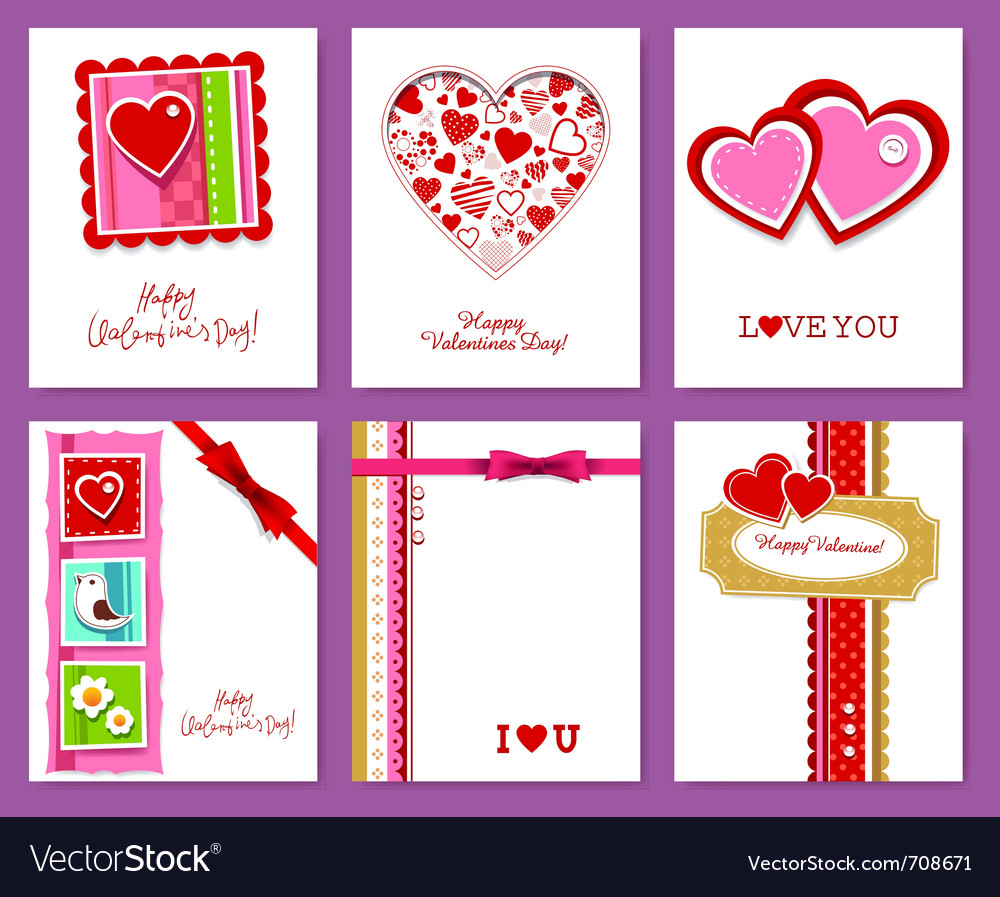 Set of valentines day cards vector | Price: 1 Credit (USD $1)