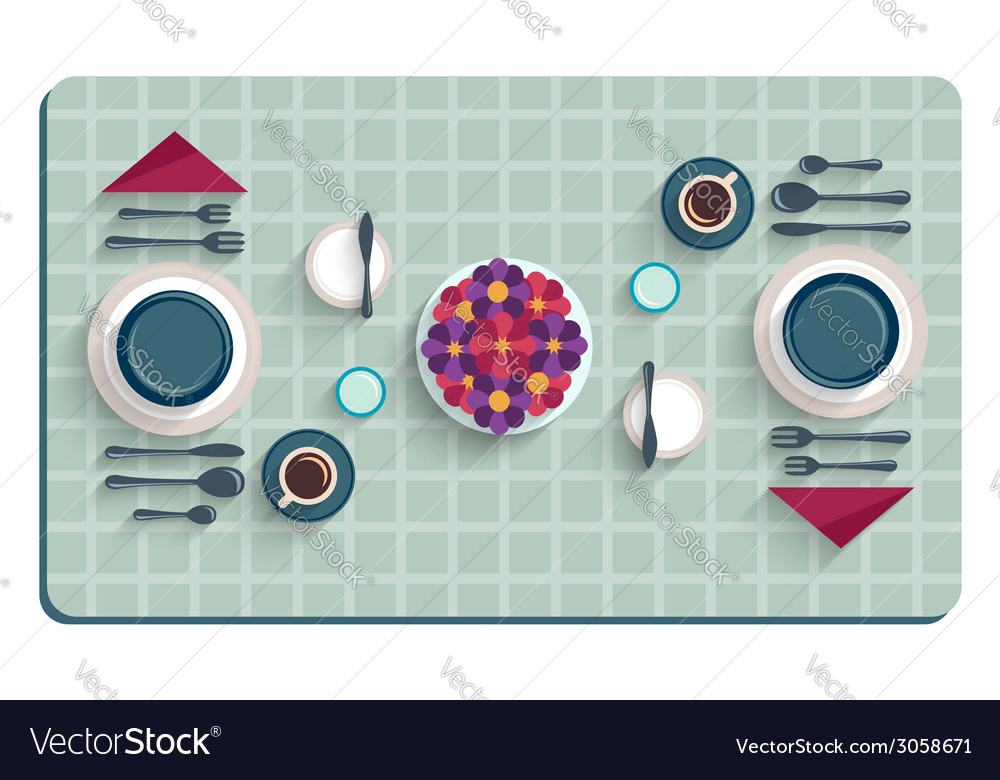Table setting for breakfast top view of desk vector | Price: 1 Credit (USD $1)