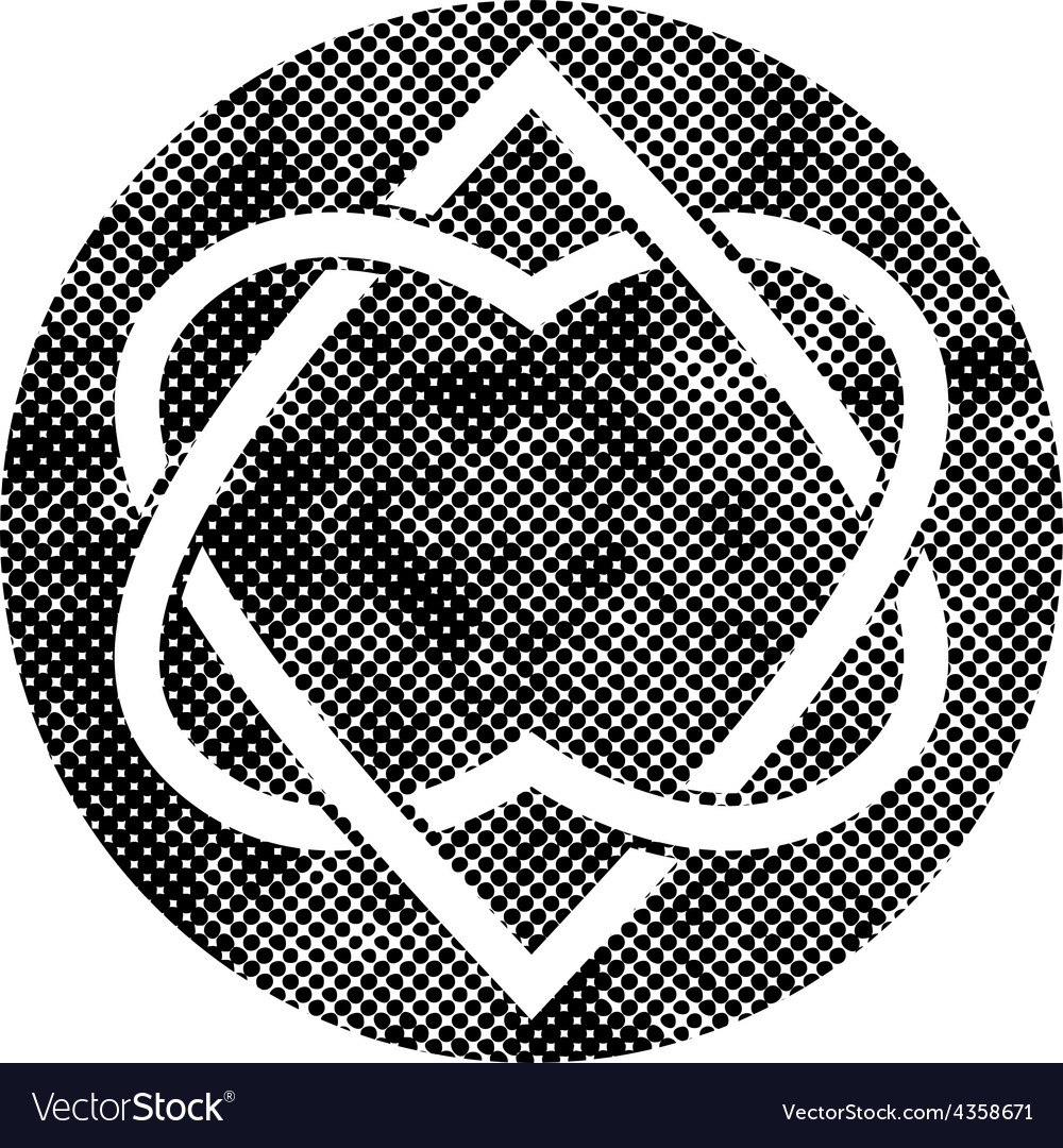 Two hearts linked symbol with pixel print halftone vector | Price: 1 Credit (USD $1)