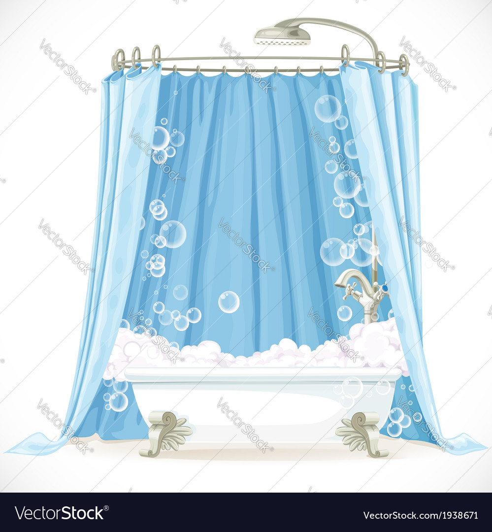 Vintage claw-foot bathtub and a curtain on the vector | Price: 1 Credit (USD $1)