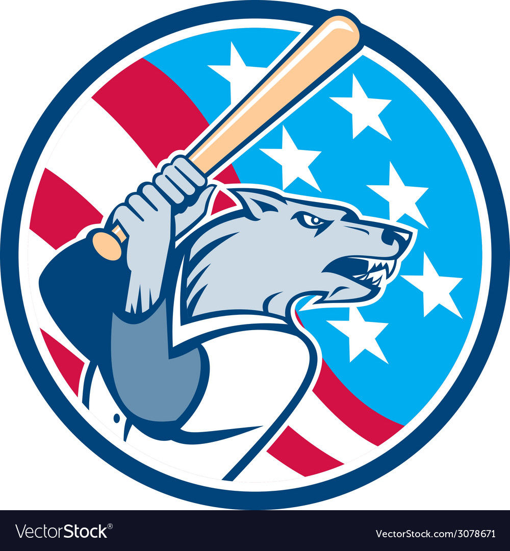 Wolf baseball with bat usa stars circle retro vector | Price: 1 Credit (USD $1)