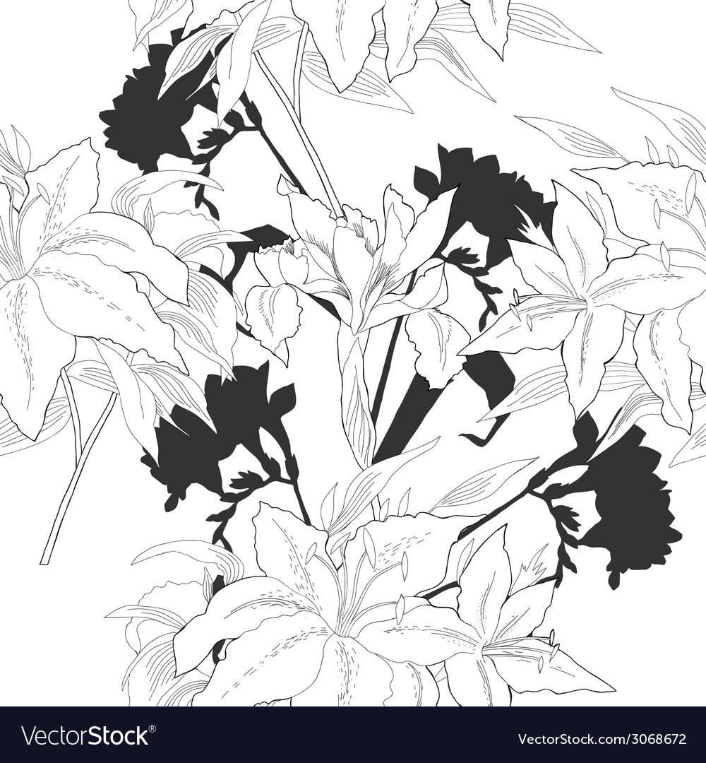 Black and white seamless pattern with flowers-06 vector | Price: 1 Credit (USD $1)