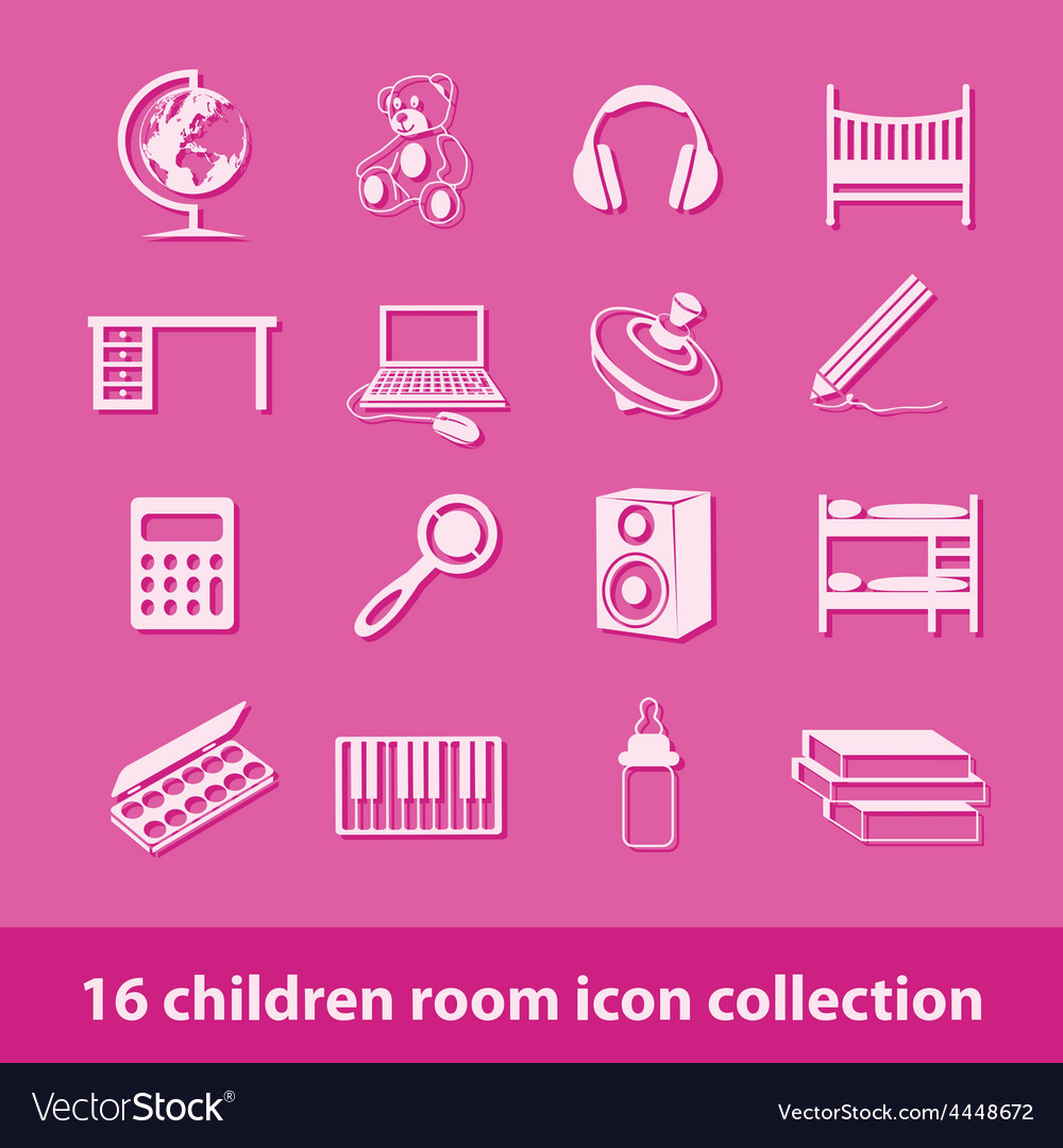 Children room icons vector | Price: 1 Credit (USD $1)