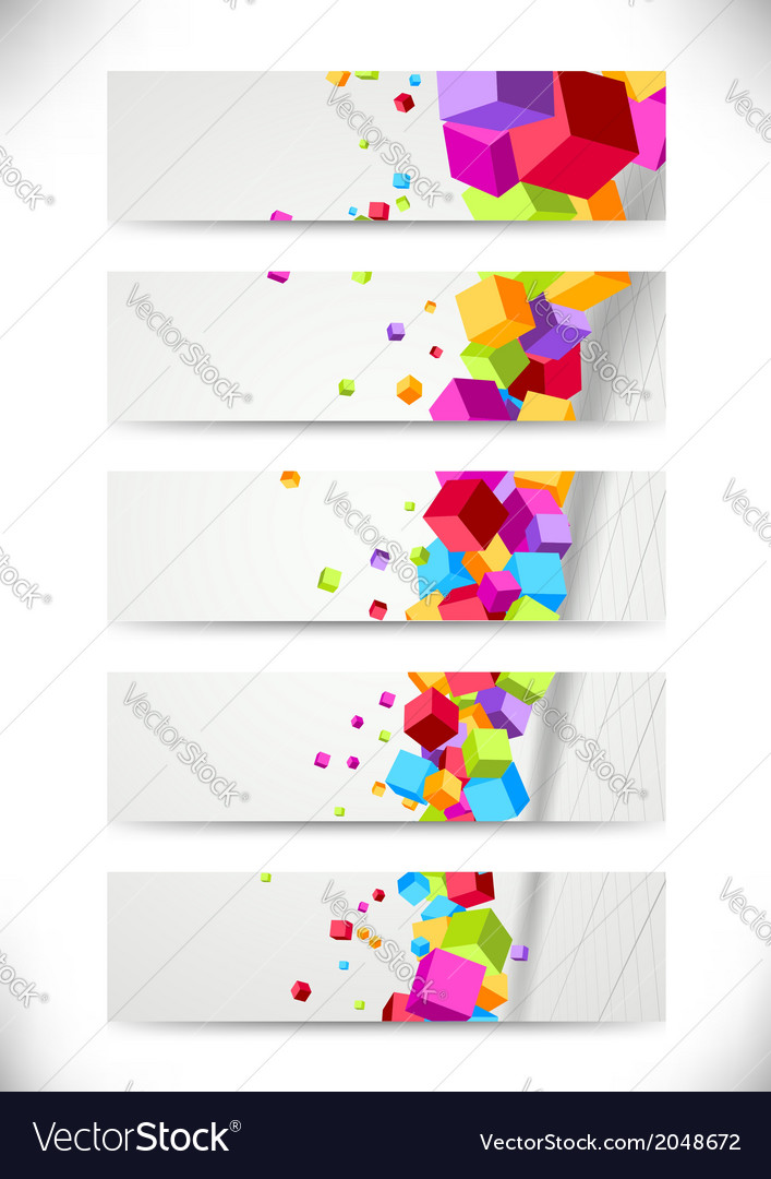 Colorful bright cubes fly - cards collection vector | Price: 1 Credit (USD $1)
