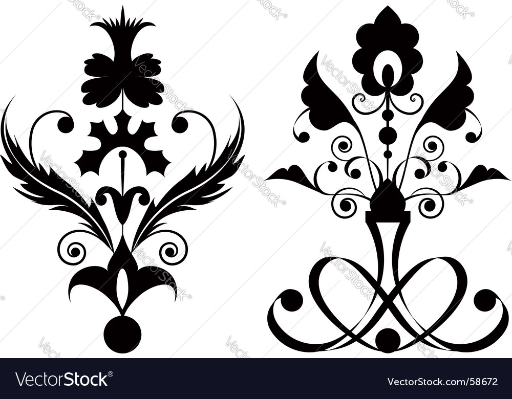 Flowers black vector | Price: 1 Credit (USD $1)