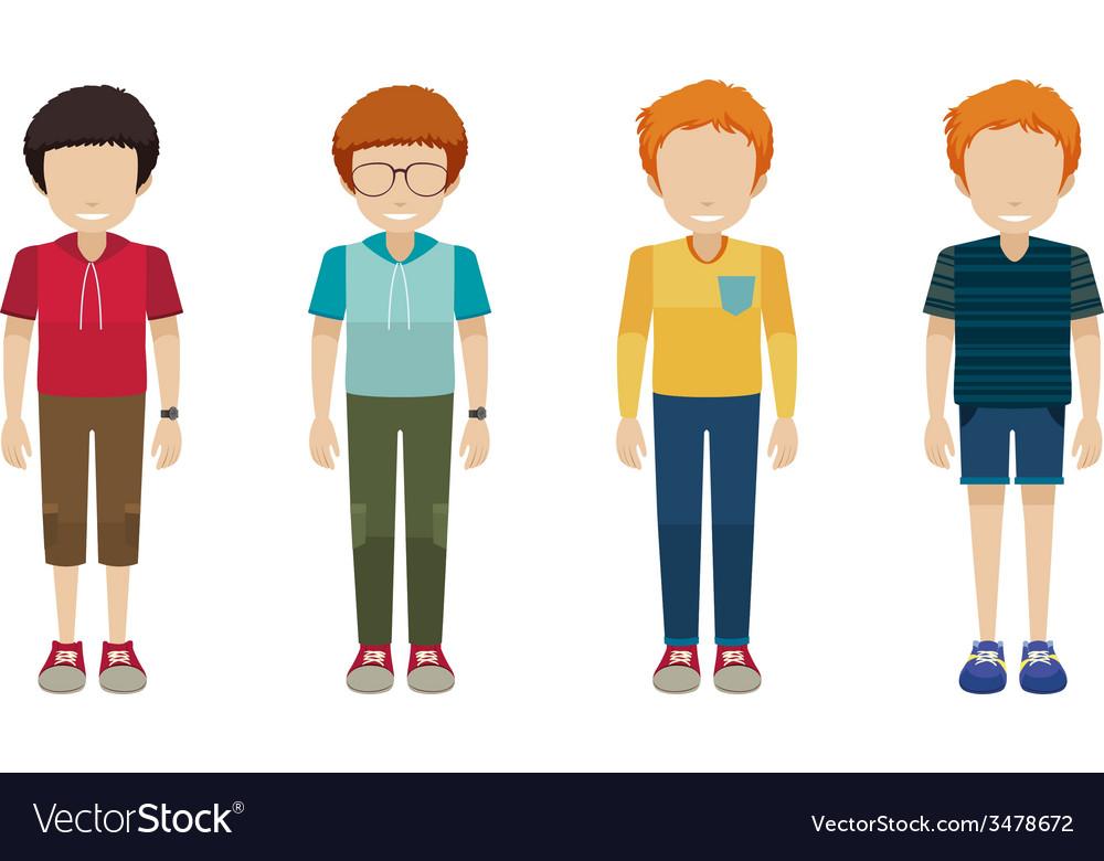 Four faceless boys vector | Price: 1 Credit (USD $1)