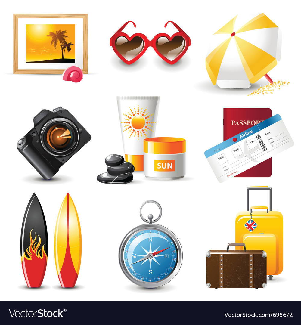 Highly detailed travelling icons set vector | Price: 3 Credit (USD $3)