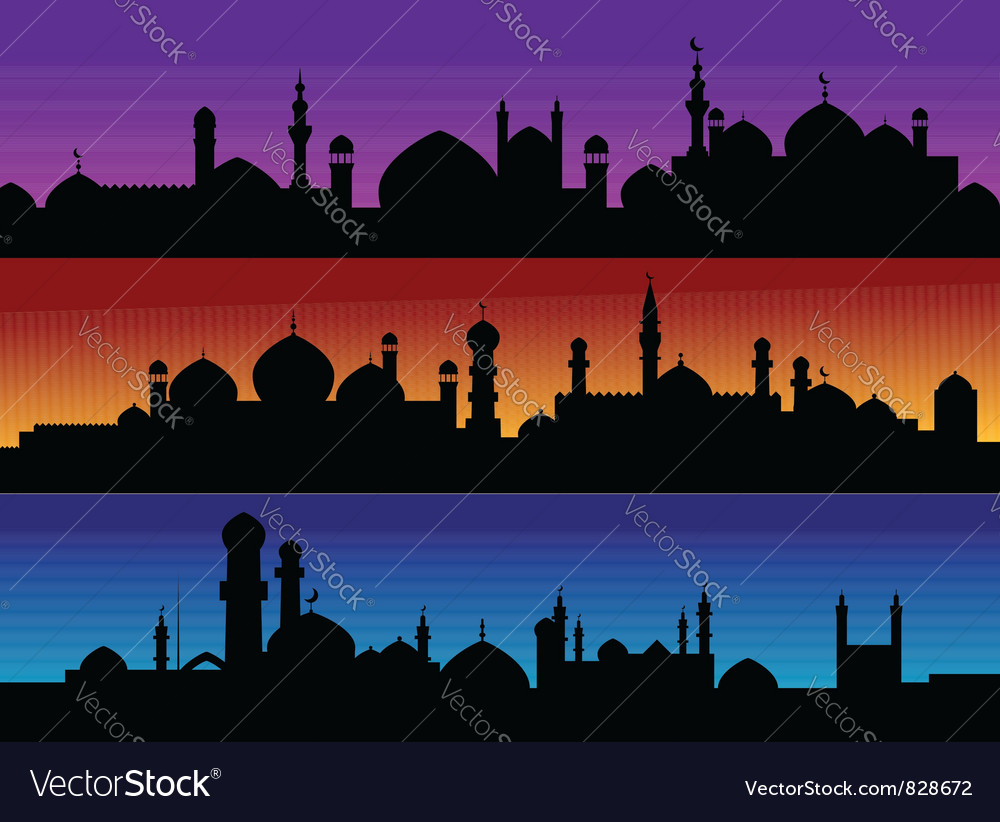 Mosque silhouette cityscapes vector | Price: 1 Credit (USD $1)