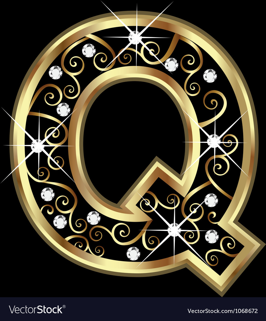 Q gold letter with swirly ornaments vector | Price: 1 Credit (USD $1)