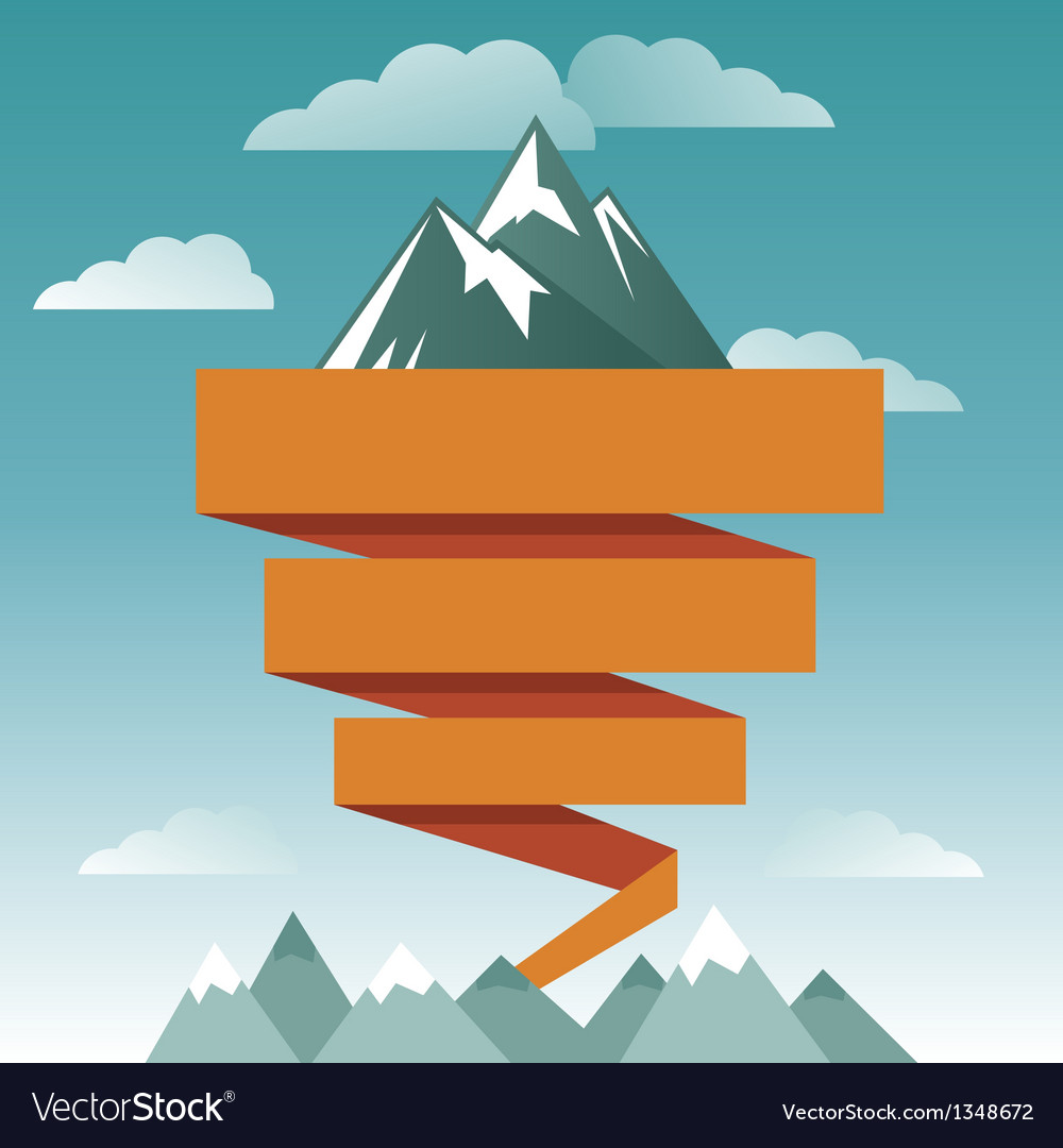Retro design template with mountain icon vector | Price: 3 Credit (USD $3)