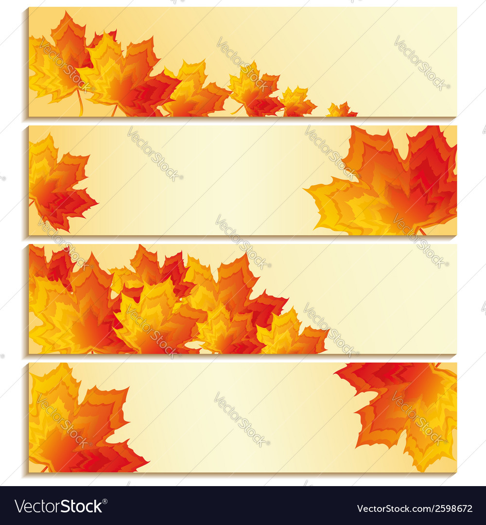 Set of banners with yellow maple leaf vector | Price: 1 Credit (USD $1)