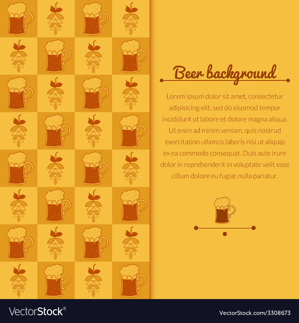 Beer mugs and hop background vector | Price: 1 Credit (USD $1)