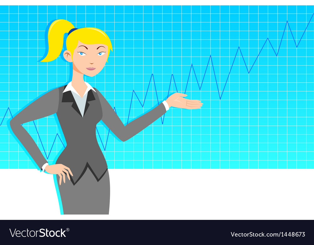 Business woman with line graph vector | Price: 1 Credit (USD $1)