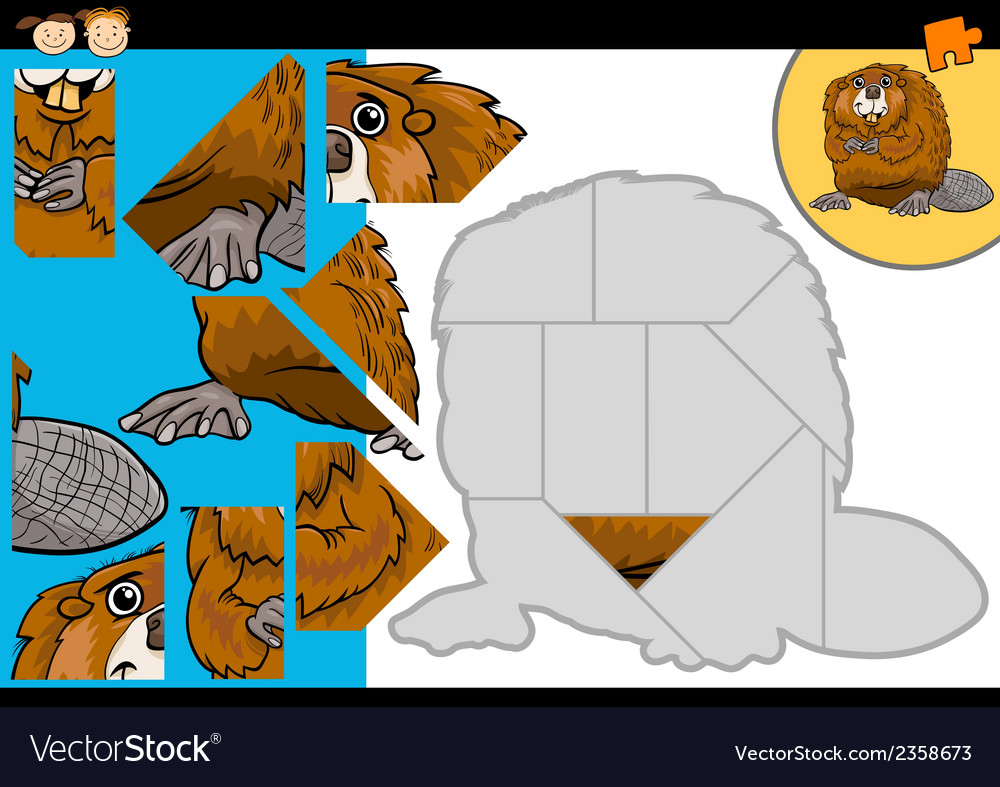 Cartoon beaver jigsaw puzzle game vector | Price: 1 Credit (USD $1)