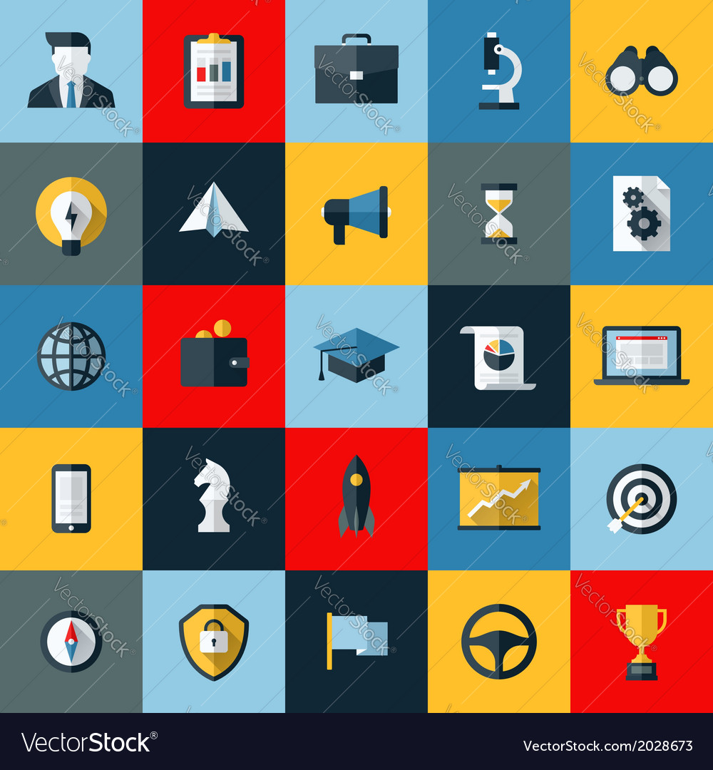 Flat design icons set of seo and social media vector