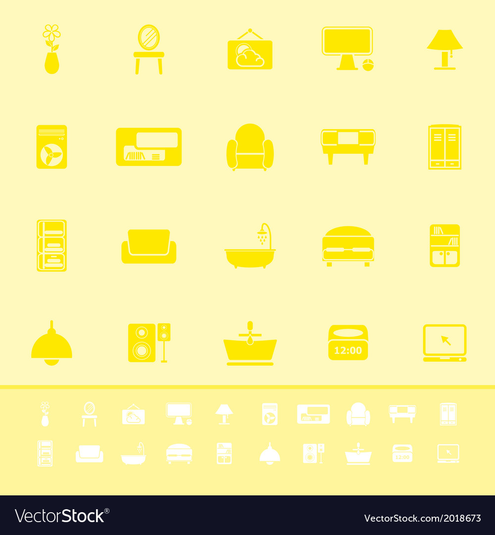 Home furniture color icons on yellow background vector | Price: 1 Credit (USD $1)