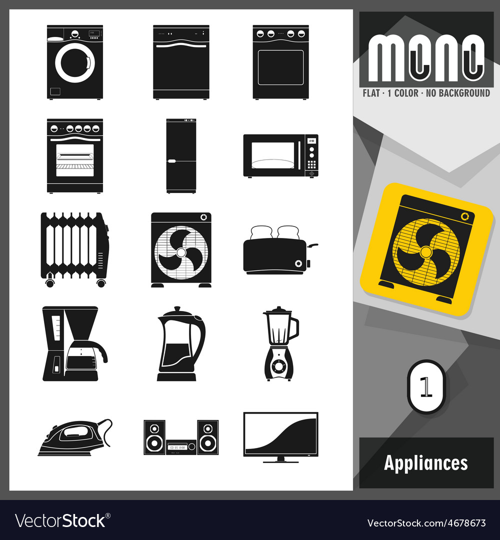 Mono icons appliances 1 vector | Price: 1 Credit (USD $1)