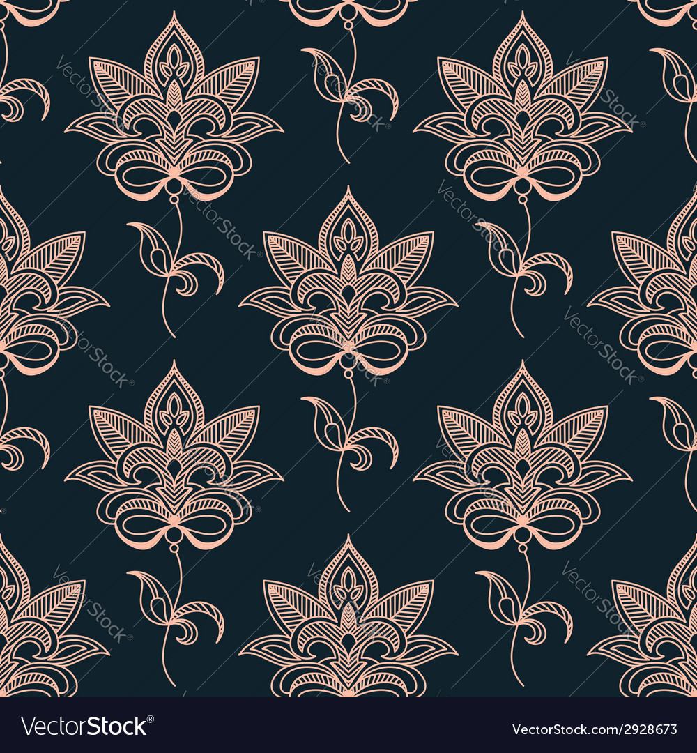 Pink paisley seamless floral pattern vector | Price: 1 Credit (USD $1)