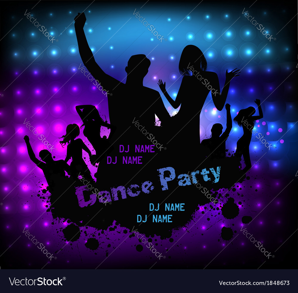 Poster template for disco party vector | Price: 1 Credit (USD $1)