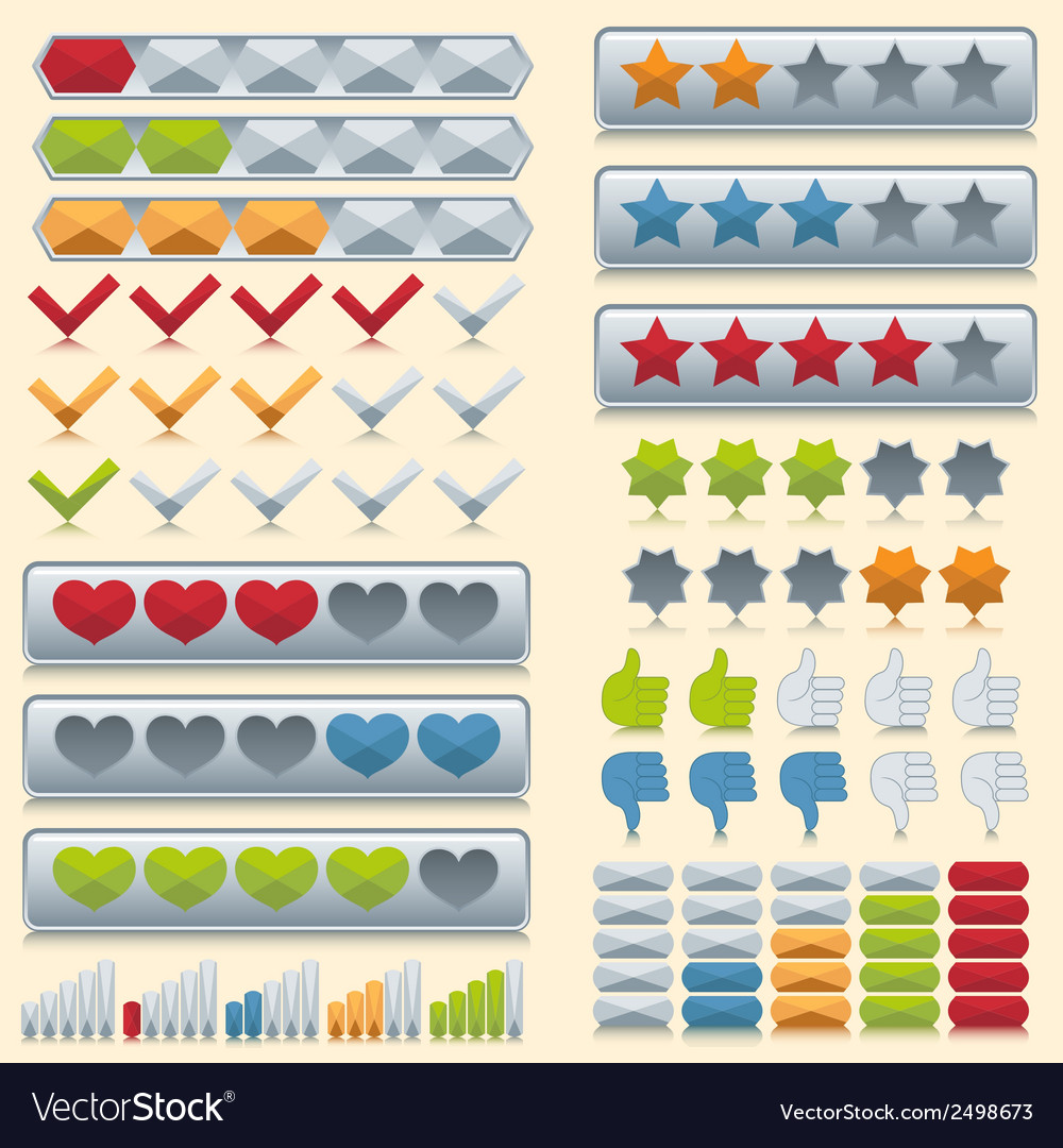 Rating icons set vector | Price: 1 Credit (USD $1)