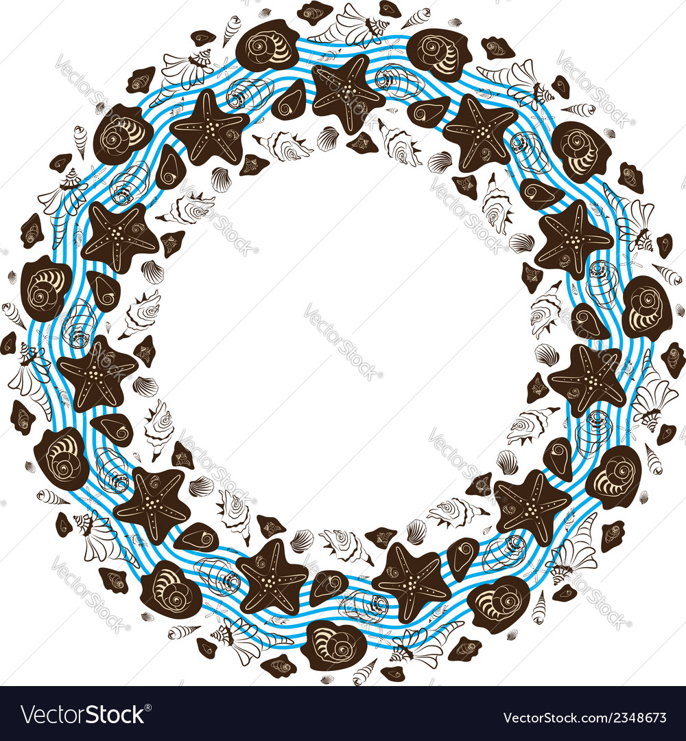 Round ornament made of shells vector | Price: 1 Credit (USD $1)