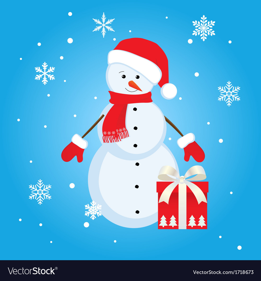 Snowman gift vector | Price: 1 Credit (USD $1)