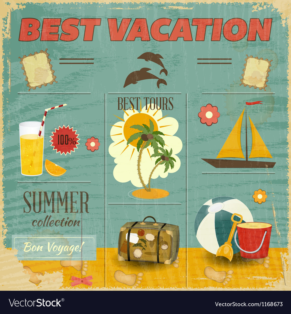 Summer card in retro style vector | Price: 1 Credit (USD $1)